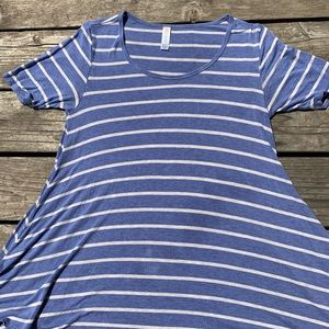 Periwinkle striped Perfect T Flair Tunic